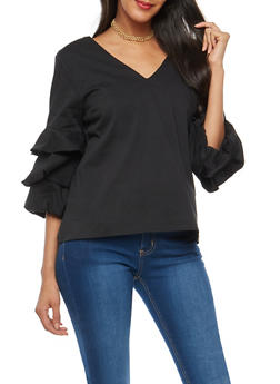 Tiered Sleeve Open Back Top - 1401054214397