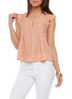 Pleated Polka Dot Top - 1401054214552