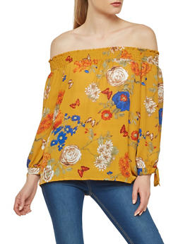Floral Off the Shoulder Tie Sleeve Top - 1401054217583