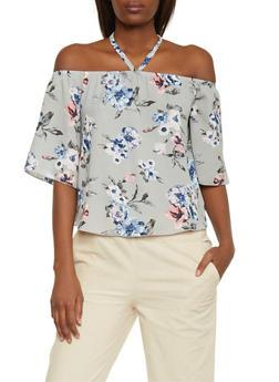 Floral Off the Shoulder Tie Halter Neck Top - 1401058600456