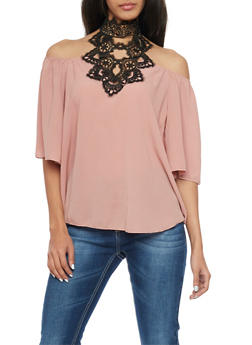 High Neck Cold Shoulder Top with Crochet - 1401058601309