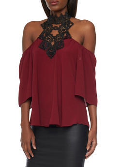 High Neck Cold Shoulder Top with Crochet - WINE - 1401058601309