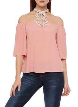 Off the Shoulder Top with Crystal Halter Neck - 1401058601347