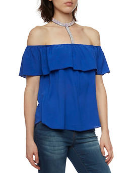 Off The Shoulder Top with Crystal Choker Panel - 1401058601526