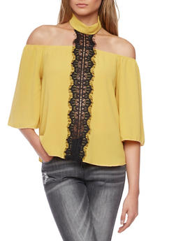Off The Shoulder Top with Lace Accent and Choker Neck - COPPER - 1401058601533