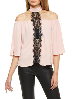 Off The Shoulder Top with Lace Accent and Choker Neck - 1401058601533