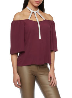 Off The Shoulder Top with Crystal Halter Paneling - 1401058601554