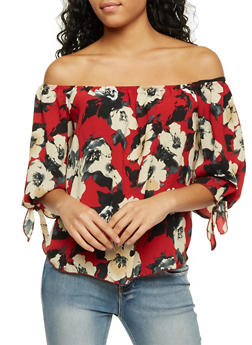 Off the Shoulder Swing Top with Floral Print - 1401058601563