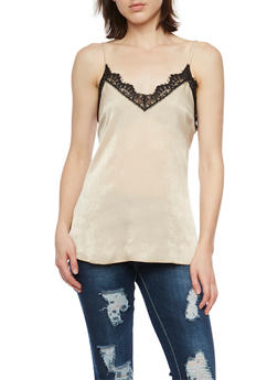 V Neck Tank Top with Lace Trim - 1401058601564