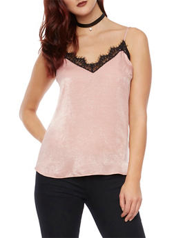 V Neck Tank Top with Lace Trim - BLUSH - 1401058601564