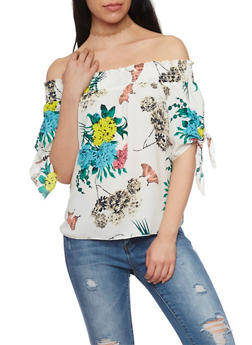 Smocked Off The Shoulder Tie Sleeve Floral Print Top - 1401058601580