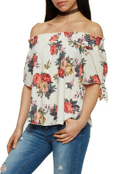 Off The Shoulder Smock Neck Floral Top - 1401058601584
