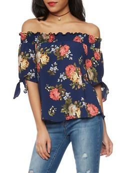 Off The Shoulder Smock Neck Floral Top - 1401058601584