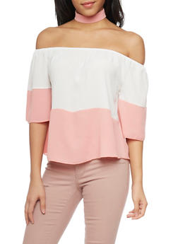 Off the Shoulder Color Block Top with Choker Necklace - 1401058601693