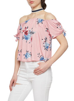 Floral Off the Shoulder Top with Choker - 1401058602013