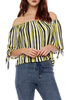 Striped Off the Shoulder Top with Tie Sleeves - 1401058605295