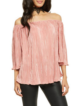 Pleated Knit Off the Shoulder Top with Choker Necklace - 1401058605300