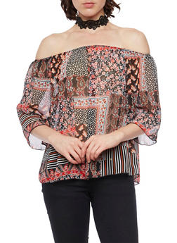 Off the Shoulder Peasant Top with Choker Necklace - 1401058605301