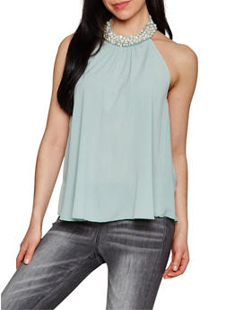 Pearl Trim Halter Neck Top - 1401058605639