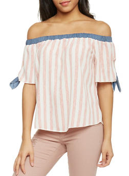 Off the Shoulder Striped Top with Chambray Trim - BLUSH - 1401058605649