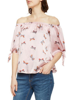 Satin Butterfly Print Off The Shoulder Peasant Top - 1401058605710
