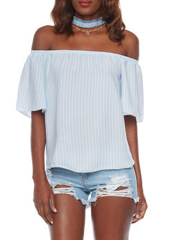 Off The Shoulder Striped Top with Frayed Denim Choker - 1401058605712