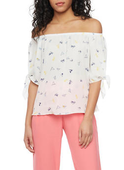 Graphic Off The Shoulder Blouse with Tied Sleeves - 1401058605714