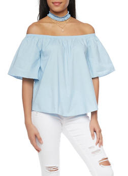 Off the Shoulder Top with Denim Choker - 1401058605716