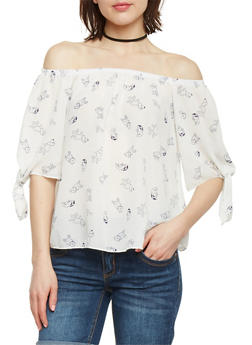 Off the Shoulder Dog Print Top with Tie Sleeves - 1401058605811
