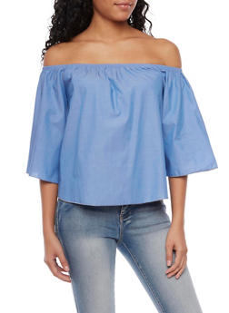 Chambray Off the Shoulder Top - 1401058606112