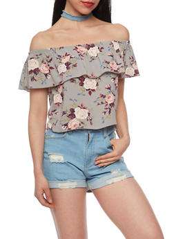 Off the Shoulder Floral Top with Ruffle Overlay - 1401061350124