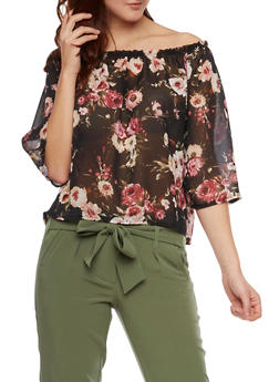 Off The Shoulder Chiffon Top with Floral Print - 1401061355353