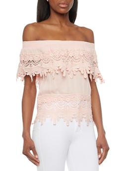Crochet Off The Shoulder Top - 1401062705358