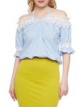Hairline Striped Halter Neck Crop Top with Crochet Details - 1401062705359