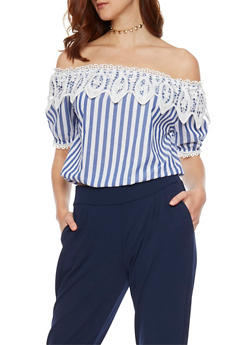 Striped Off The Shoulder Top with Crochet Trim - 1401062705361