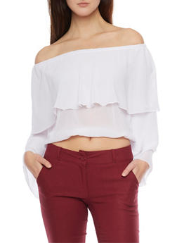 Off the Shoulder Layered Crop Top - WHITE - 1401062705364