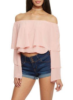 Off the Shoulder Layered Crop Top - BLUSH - 1401062705364
