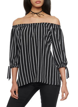Pinstriped Crepe Off the Shoulder Top with Tie Sleeves - 1401062705382