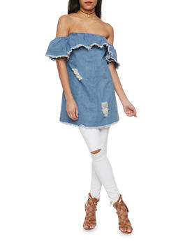 Distressed Denim Off the Shoulder Top with Frayed Edges - 1401062705384