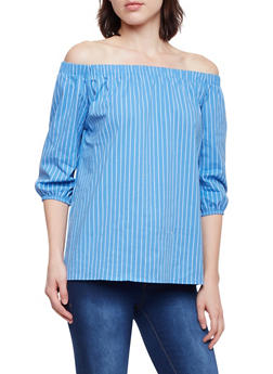 Striped Off the Shoulder Top - 1401062705744