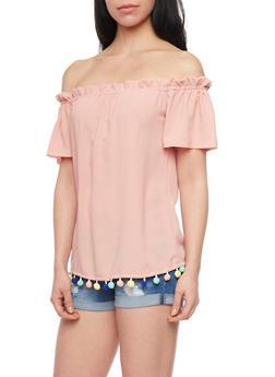 Off Shoulder Peasant Top with Multi Colored Pom Pom Fringe - 1401065622028