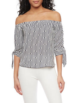 Crepe Knit Striped Off The Shoulder Top with Tie Sleeves - 1401065623527