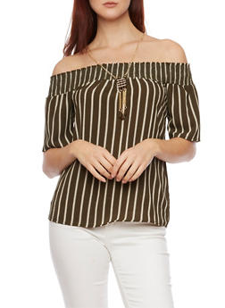 Striped Off the Shoulder Top with Necklace - OLIVE - 1401065623550