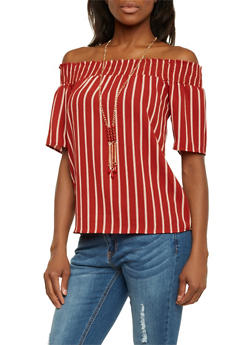 Striped Off the Shoulder Top with Necklace - 1401065623550