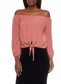 Long Sleeve Off The Shoulder Top with Tie Hem - 1401065623566
