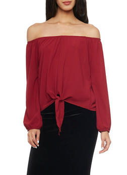 Long Sleeve Off The Shoulder Top with Tie Hem - BURGUNDY - 1401065623566