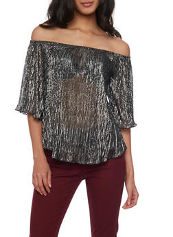 Metallic Off The Shoulder Top with Three Quarter Sleeves - 1401065623576