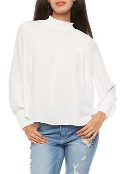 Smocked Peasant Top - WHITE - 1401068191707