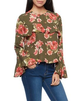 Floral Bell Sleeve Blouse with Ruffle Detail - 1401068191807