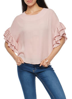 Pleated Dolman Sleeve Top - 1401068192033